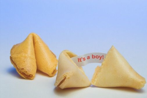 gender reveal idea with fortune cookies