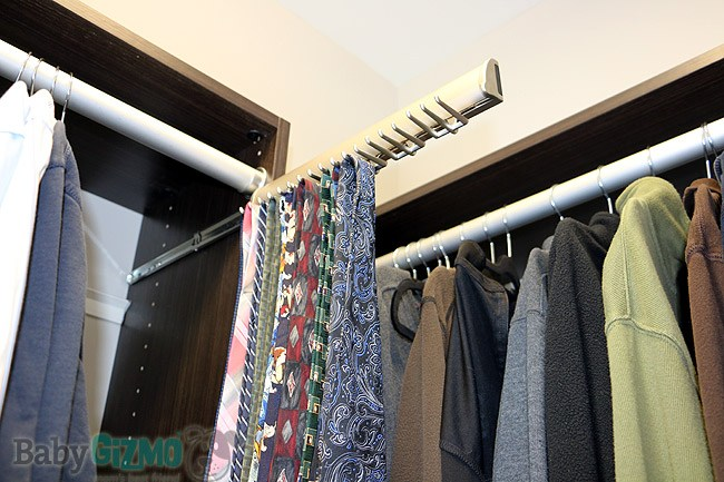 tie rack in master closet