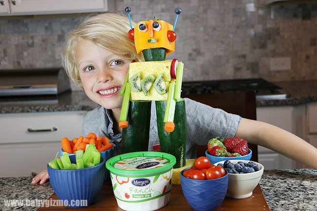 little boy with vegetables