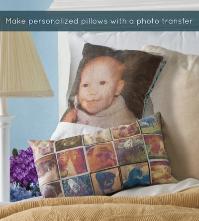 Photo Pillows on a bed