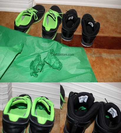putting tissue paper in shoes prank