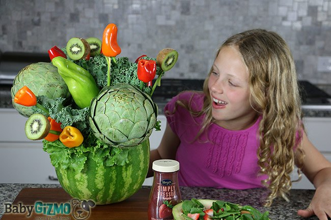 large watermelon vase with young girl