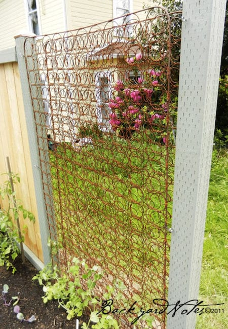 trellis out of an old crib mattress - upcycled garden ideas