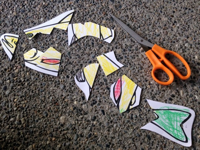 paper fish cut into pieces