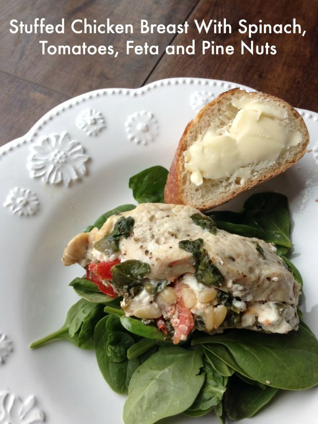 Stuffed Chicken Breast With Spinach, Tomatoes, Feta and Pine Nuts