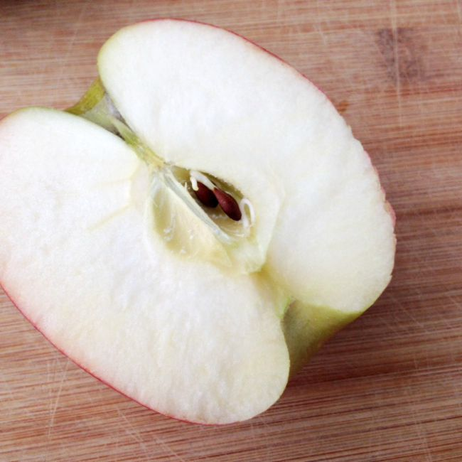 apple cut in half