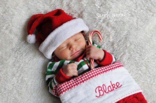 baby in a stocking