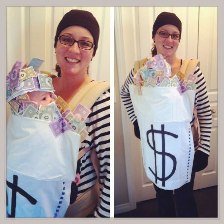 rubber and money bag costume