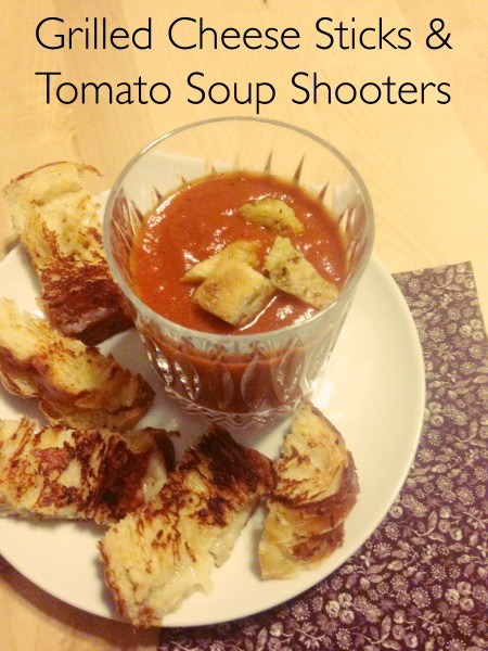 Grilled Cheese Sticks and Tomato Soup Shooters