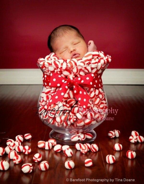 newborn in a candy jar