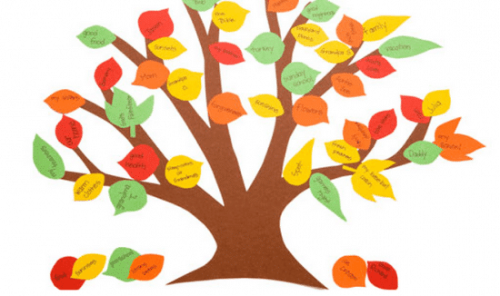 thanksgiving gratitude tree out of construction paper