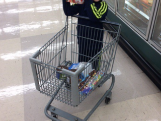 boy with grocery cart