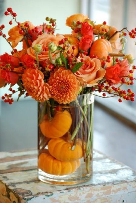 pumpkin bouquet on table top