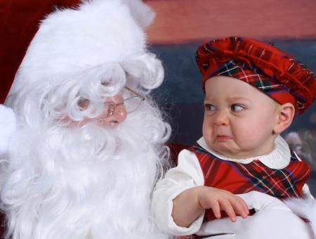 hilarious baby with santa