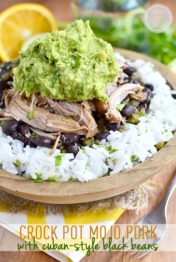 crockpot mojo pork healthy rice bowl