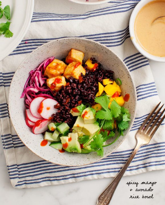 mango and avocado healthy rice bowl