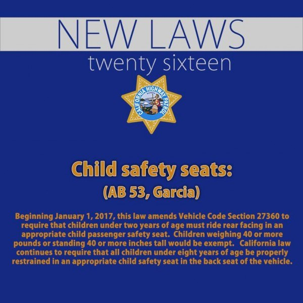 California Parents: Law Requires Under 2s To Rear Face