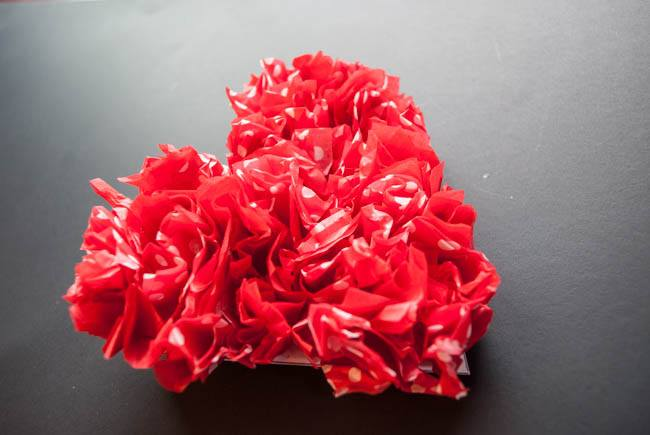 red tissue paper hearts