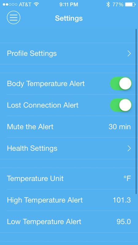 FeverFrida temp alert set