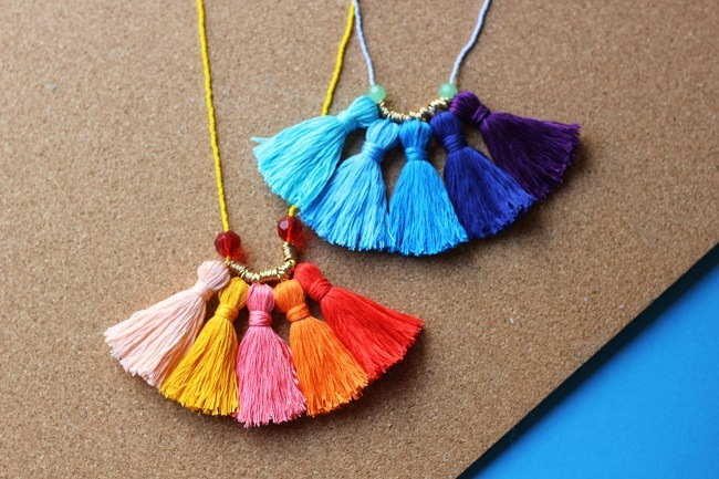 DIY mother's day gift tassel necklace