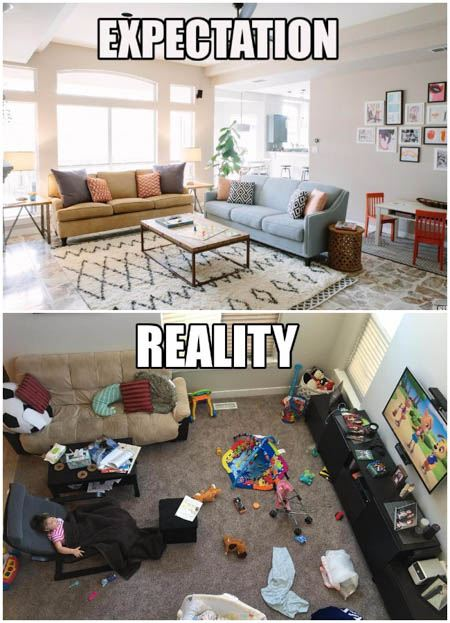 messy combined living room