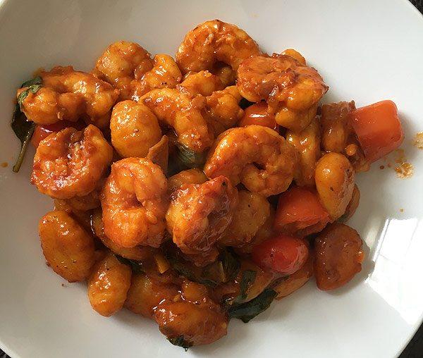 Blue Apron saffron shrimp