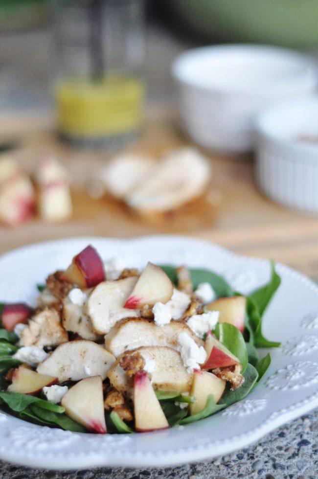 White Peach, Chicken, Walnut + Goat Cheese Salad