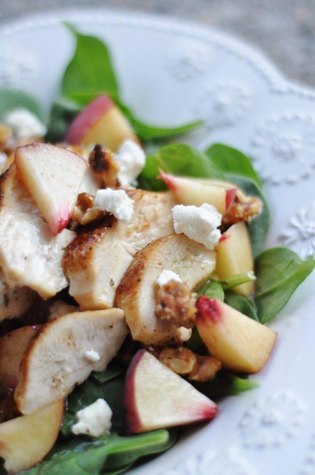white peach, chicken, walnut + goat cheese salad comfort food