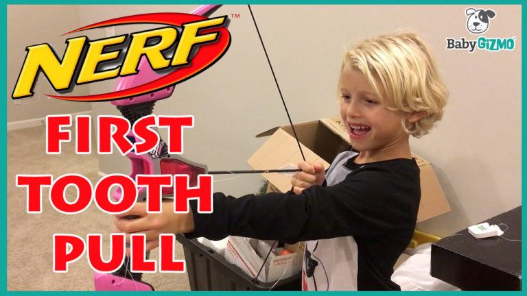 First Tooth Pull with Nerf Bow and Arrow