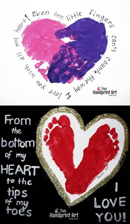 toddler Valentine's Footprint-Handprint-Heart-Crafts