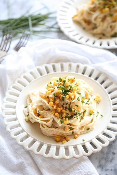 Sweet and Spicy Corn Pasta with Ricotta and Chives