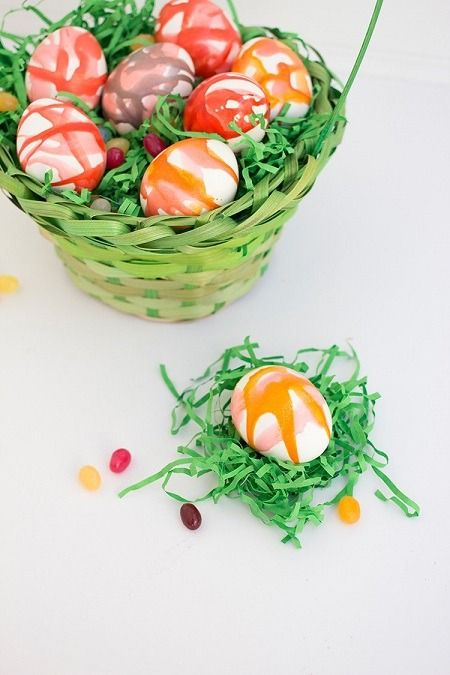 Easter eggs decorated with koolaid