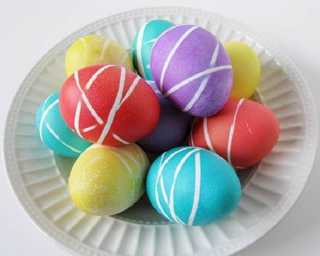 Easter eggs decorated with rubberbands