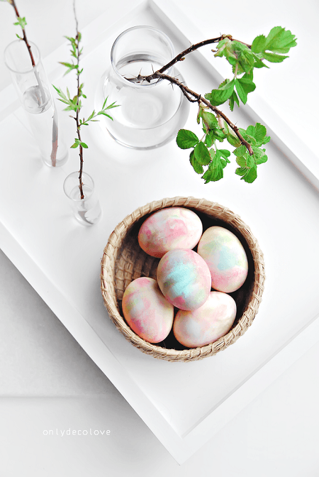 Easter egg with whipped cream dye