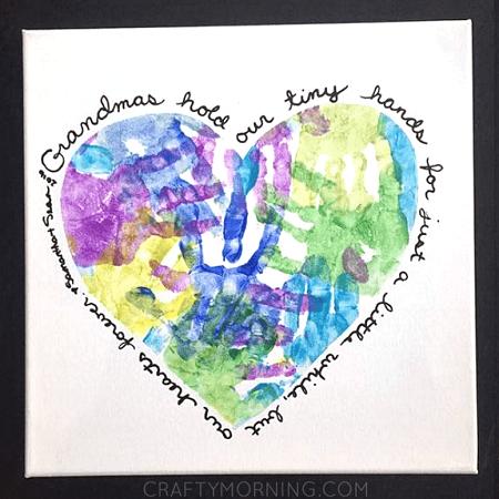 heart handprint canvas