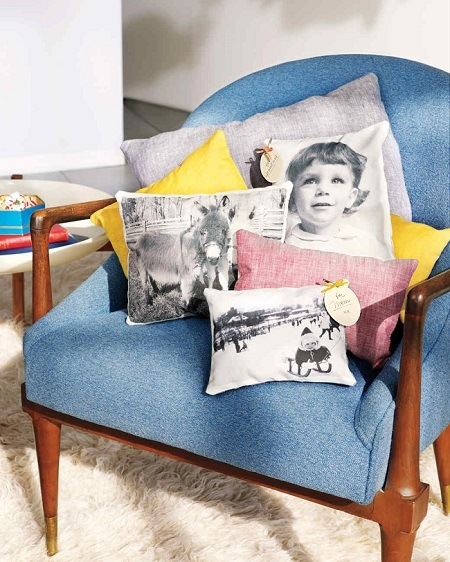 photo pillow on a blue chair