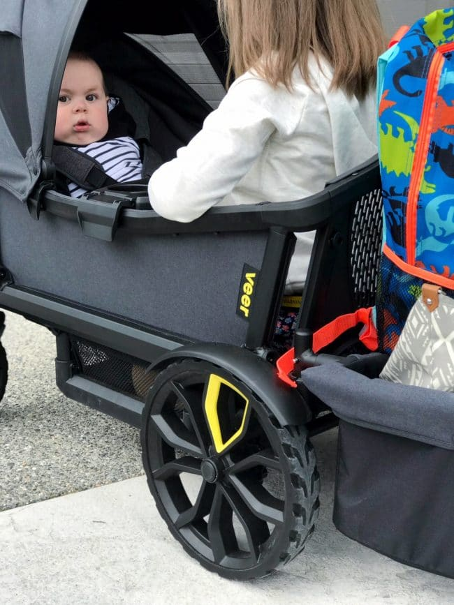 baby and toddler in veer cruiser