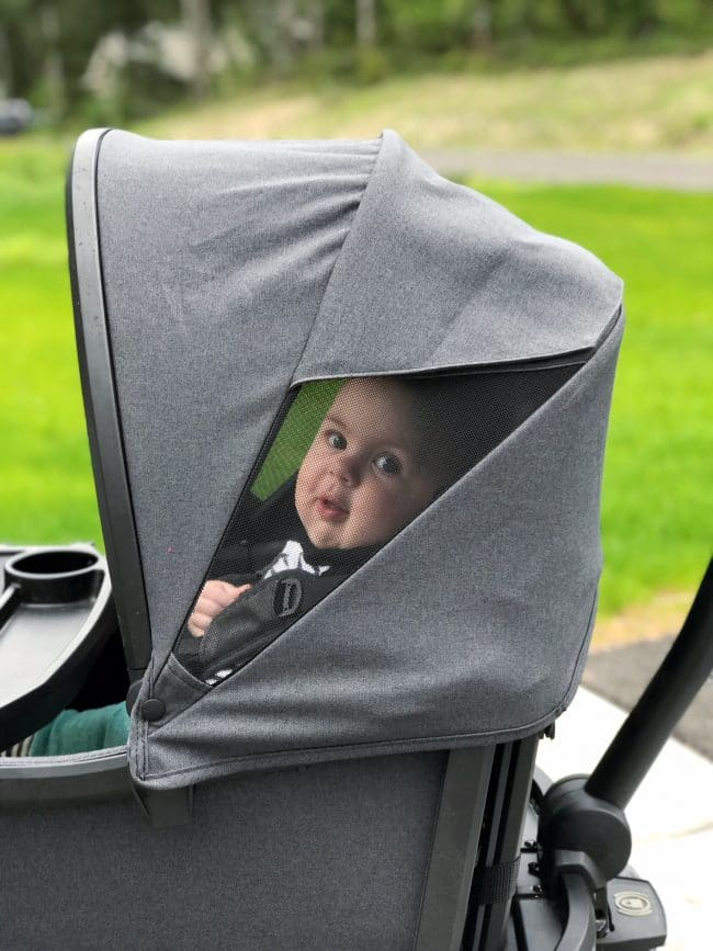 baby under canopy of wagon