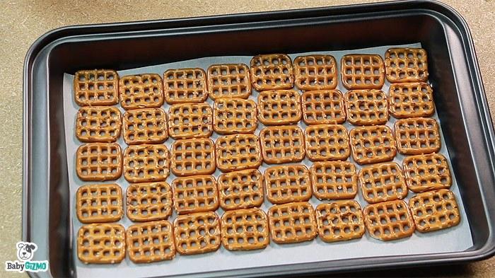 square pretzels in baking sheet