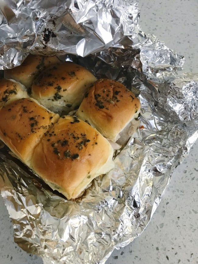 "Foil Pouch ""Grilled"" Pesto Chicken Sandwiches"