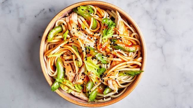 oven udon-with-chicken-and-garlicky-peanut-dressing