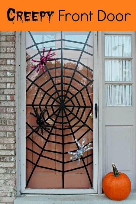 door spider web