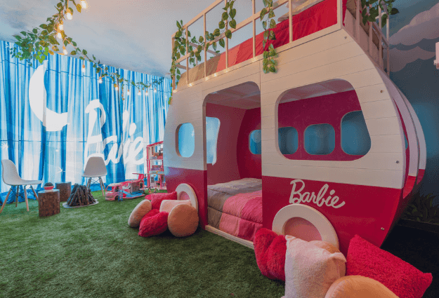 Staying in a BARBIE Themed Hotel Suite Room Tour