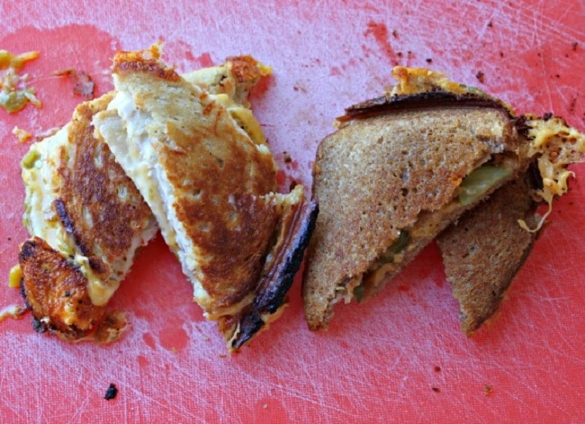 Campfire Grilled Cheese sandwiches made in a pie iron.
