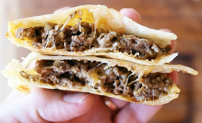 Tacos made in a pie iron