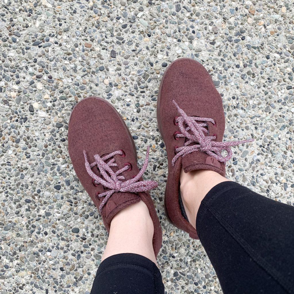 Allbirds shoes on concrete