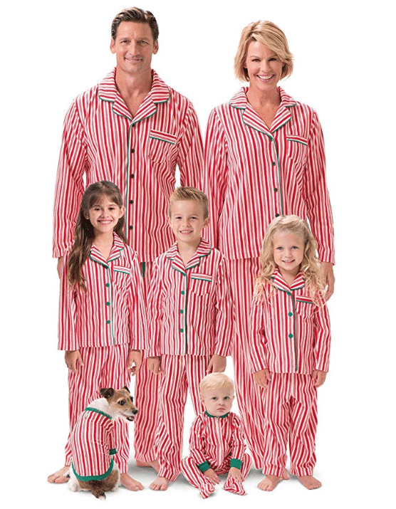 striped holiday pjs