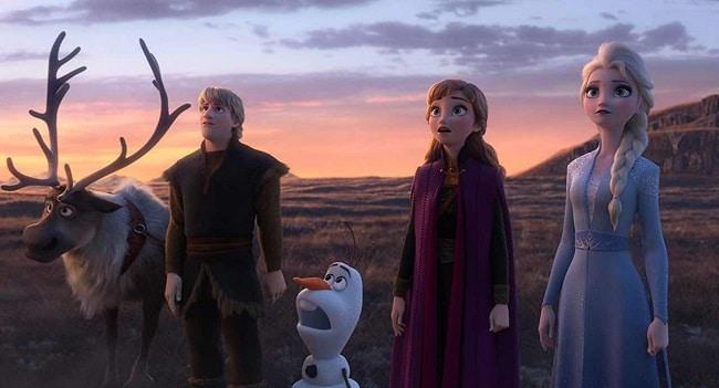 Frozen II: Sven, Kristoff, Olaf, Anna, and Elsa