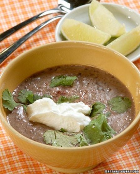 black bean soup meal