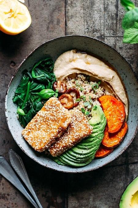 sesame crusted hoisin tofu buddha bowl meal